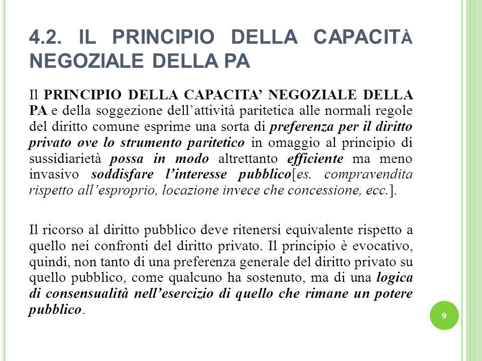 4.2. IL PRINCIPIO DELLA CAPACIT À NEGOZIALE DELLA PA Il PRINCIPIO DELLA CAPACITA NEGOZIALE DELLA PA e della soggezione dellattività paritetica alle no