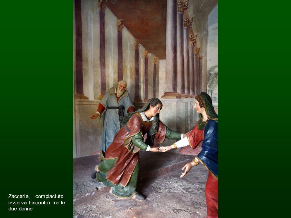 Zaccaria, compiaciuto, osserva lincontro tra le due donne