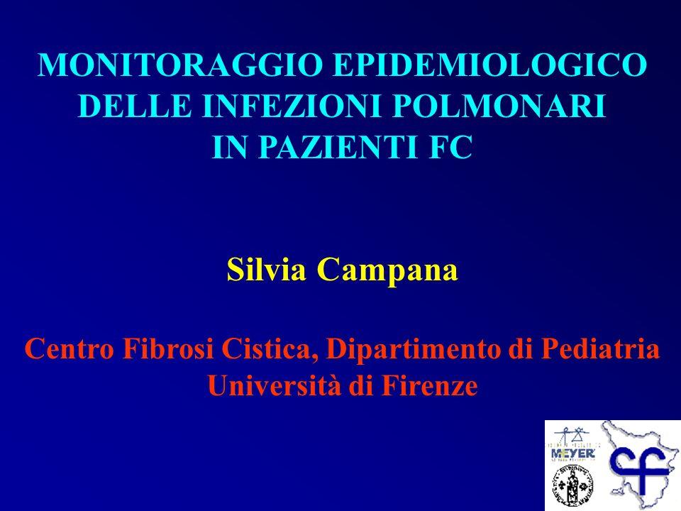 MONITORAGGIO EPIDEMIOLOGICO DELLE INFEZIONI POLMONARI IN PAZIENTI FC Silvia Campana Centro Fibrosi Cistica, Dipartimento di Pediatria Università di Fi