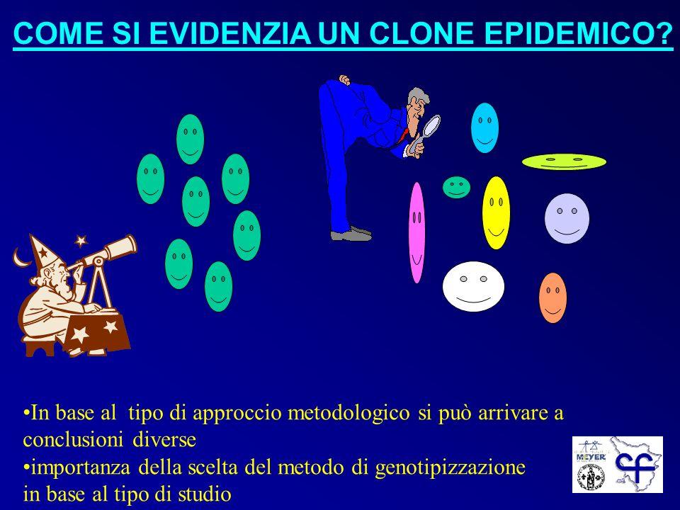 COME SI EVIDENZIA UN CLONE EPIDEMICO? In base al tipo di approccio metodologico si può arrivare a conclusioni diverse importanza della scelta del meto