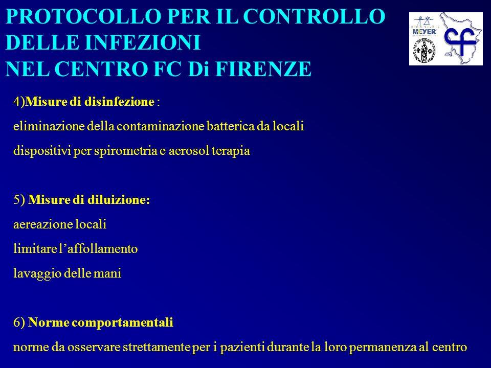 PROTOCOLLO PER IL CONTROLLO DELLE INFEZIONI NEL CENTRO FC Di FIRENZE 4)Misure di disinfezione : eliminazione della contaminazione batterica da locali