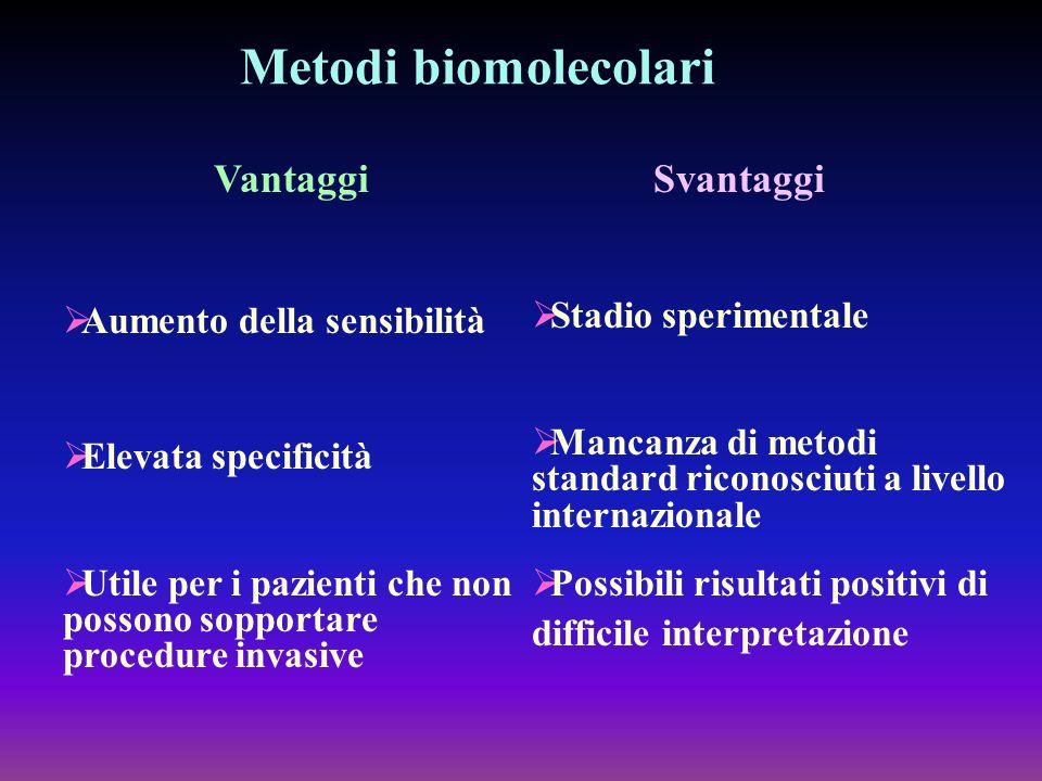 Metodi biomolecolari Vantaggi Aumento della sensibilità Elevata specificità Utile per i pazienti che non possono sopportare procedure invasive Svantag