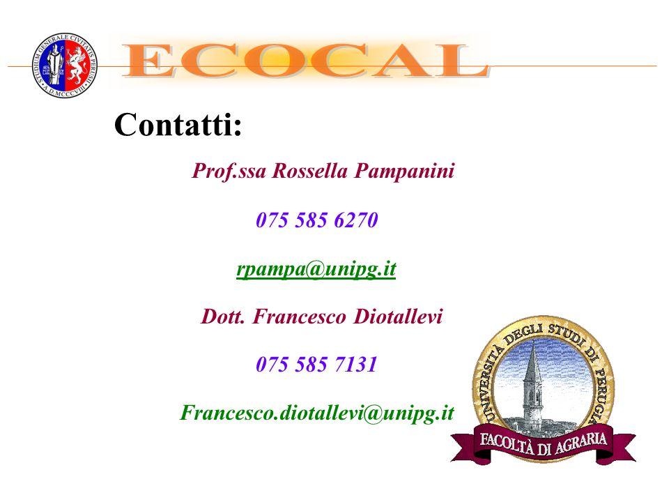 Contatti: Prof.ssa Rossella Pampanini 075 585 6270 rpampa@unipg.it Dott.