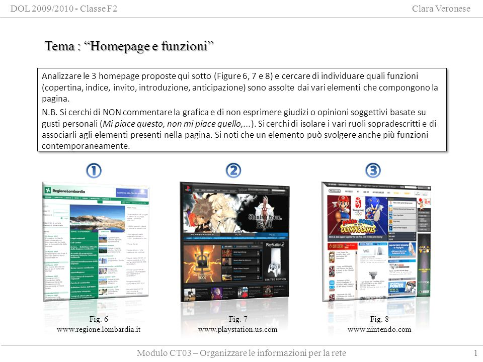 Modulo CT03 – Organizzare le informazioni per la rete DOL 2009/2010 - Classe F2Clara Veronese Tema : Homepage e funzioni 1 Fig.
