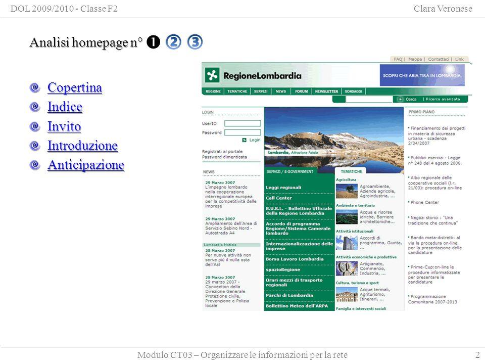 Modulo CT03 – Organizzare le informazioni per la rete DOL 2009/2010 - Classe F2Clara Veronese Analisi homepage n° 1 Copertina Indice Invito Introduzione Anticipazione 2