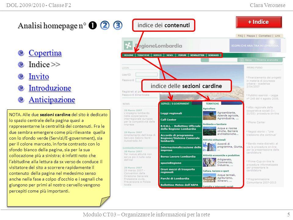 Modulo CT03 – Organizzare le informazioni per la rete DOL 2009/2010 - Classe F2Clara Veronese Analisi homepage n° 3 Copertina Indice Invito Introduzione Anticipazione 16