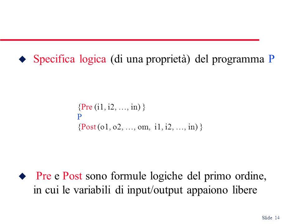 Slide 14 u Specifica logica (di una proprietà) del programma P u Pre e Post sono formule logiche del primo ordine, in cui le variabili di input/output