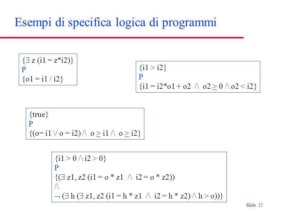 Slide 15 Esempi di specifica logica di programmi { z (i1 = z*i2)} P {o1 = i1 / i2} {i1 > i2} P {i1 = i2*o1 + o2 /\ o2 > 0 /\ o2 < i2} {true} P {(o= i1