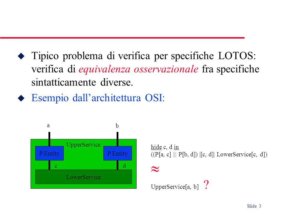 Slide 3 u Tipico problema di verifica per specifiche LOTOS: verifica di equivalenza osservazionale fra specifiche sintatticamente diverse. u Esempio d