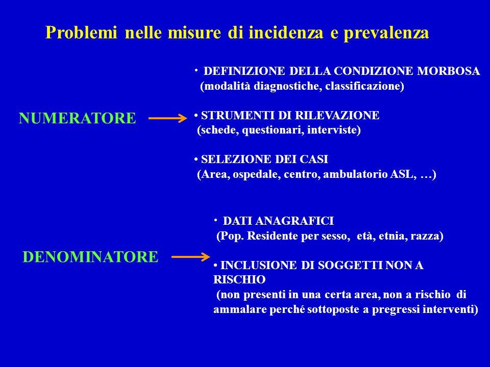 Problemi nelle misure di incidenza e prevalenza NUMERATORE DENOMINATORE DEFINIZIONE DELLA CONDIZIONE MORBOSA (modalità diagnostiche, classificazione)