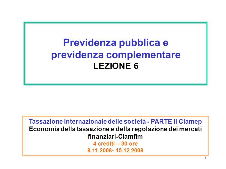 1 Previdenza pubblica e previdenza complementare LEZIONE 6 Tassazione internazionale delle società - PARTE II Clamep Economia della tassazione e della regolazione dei mercati finanziari-Clamfim 4 crediti – 30 ore 8.11.2008- 15.12.2008