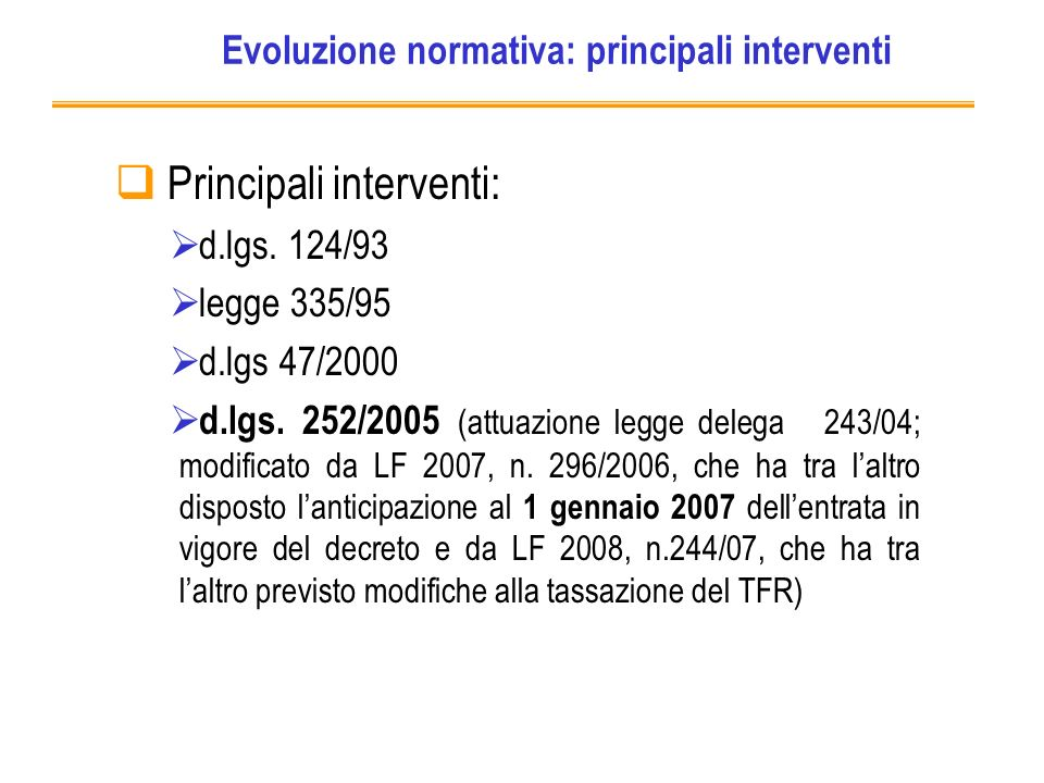 Evoluzione normativa: principali interventi Principali interventi: d.lgs.