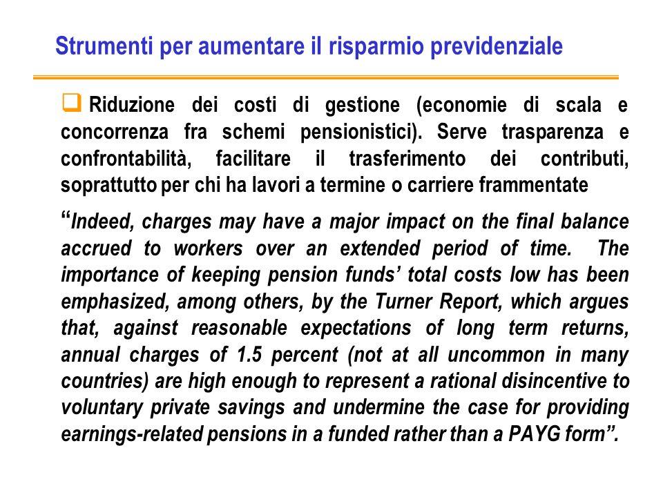 Strumenti per aumentare il risparmio previdenziale Riduzione dei costi di gestione (economie di scala e concorrenza fra schemi pensionistici).