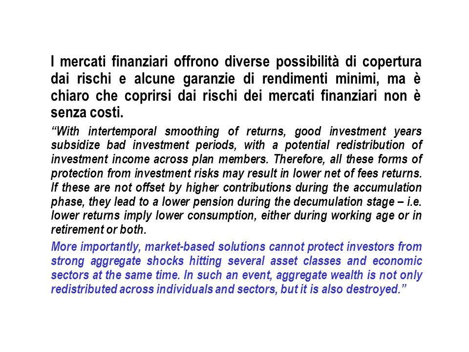 I mercati finanziari offrono diverse possibilità di copertura dai rischi e alcune garanzie di rendimenti minimi, ma è chiaro che coprirsi dai rischi dei mercati finanziari non è senza costi.