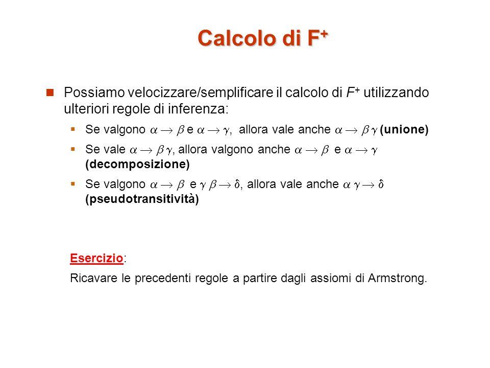 Chiusura di un insieme di attributi Dato un insieme di attributi si definisce la chiusura di rispetto a F (denotata con + ) linsieme di tutti gli attributi che sono funzionalmente determinati da attributi in utilizzando le dipendenza in F.