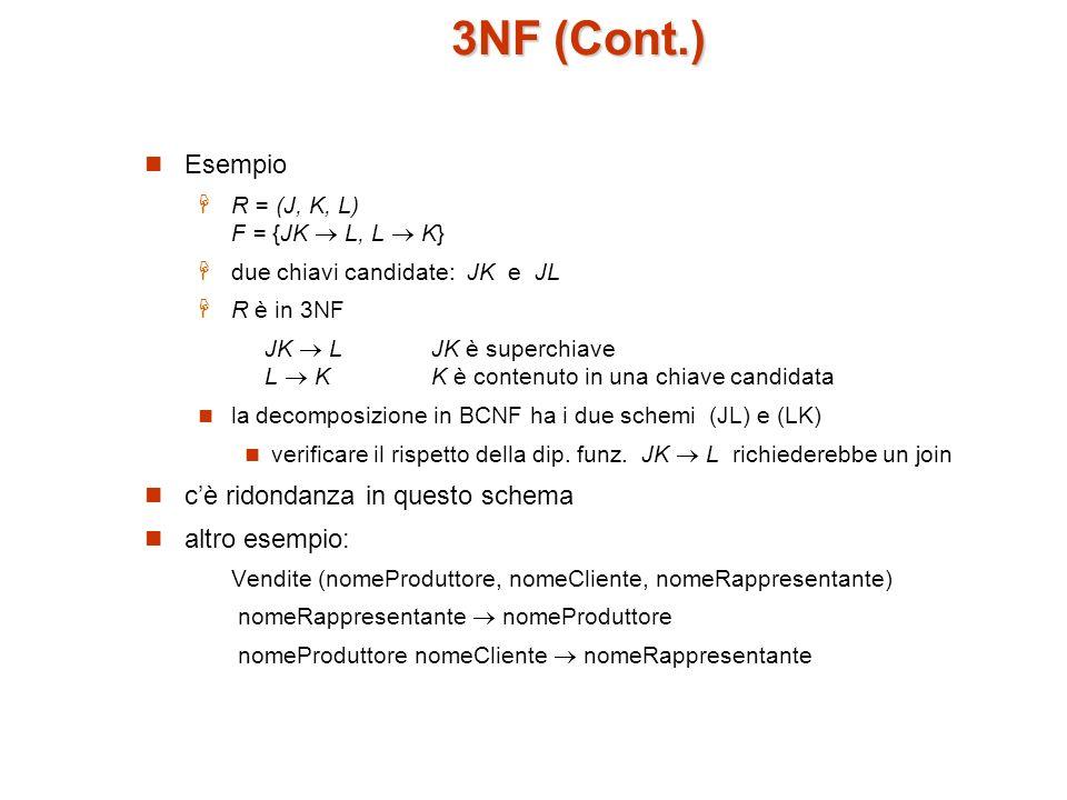 Test per la 3NF Ottimizzazione: dobbiamo controllare solo le dip.