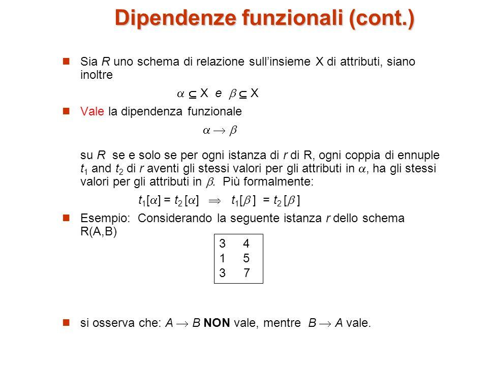 Ricordiamo che: K è una superchiave per uno schema R(X) se e solo se K X K è chiave candidata per R(X) se e solo se K X, e per nessun K si ha X le dipendenze funzionali permettono di esprimere vincoli non esprimibili tramite la nozione di chiave.