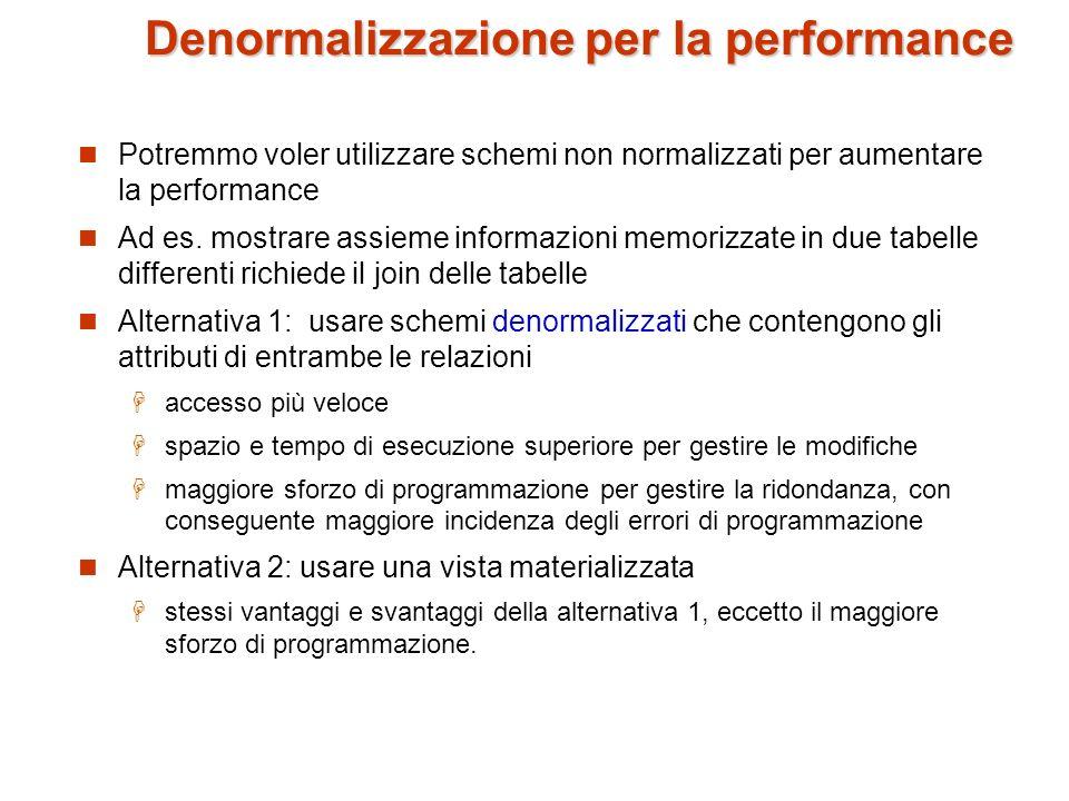 Denormalizzazione per la performance Potremmo voler utilizzare schemi non normalizzati per aumentare la performance Ad es. mostrare assieme informazio