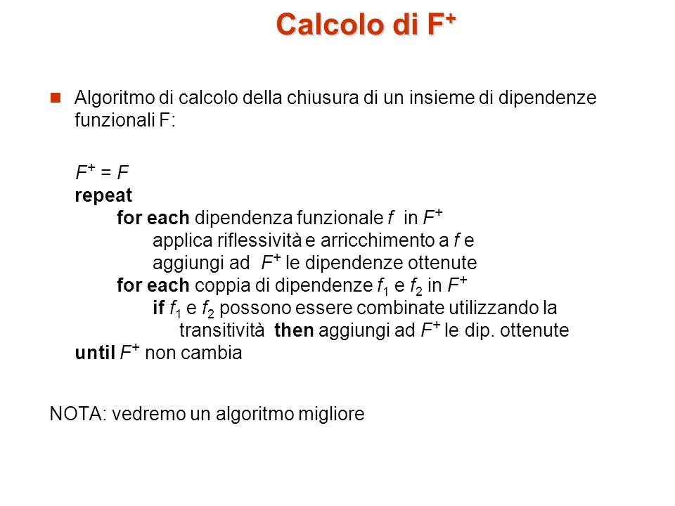 Calcolo di F + Possiamo velocizzare/semplificare il calcolo di F + utilizzando ulteriori regole di inferenza: Se valgono e, allora vale anche (unione) Se vale, allora valgono anche e (decomposizione) Se valgono e, allora vale anche (pseudotransitività) Esercizio: Ricavare le precedenti regole a partire dagli assiomi di Armstrong.