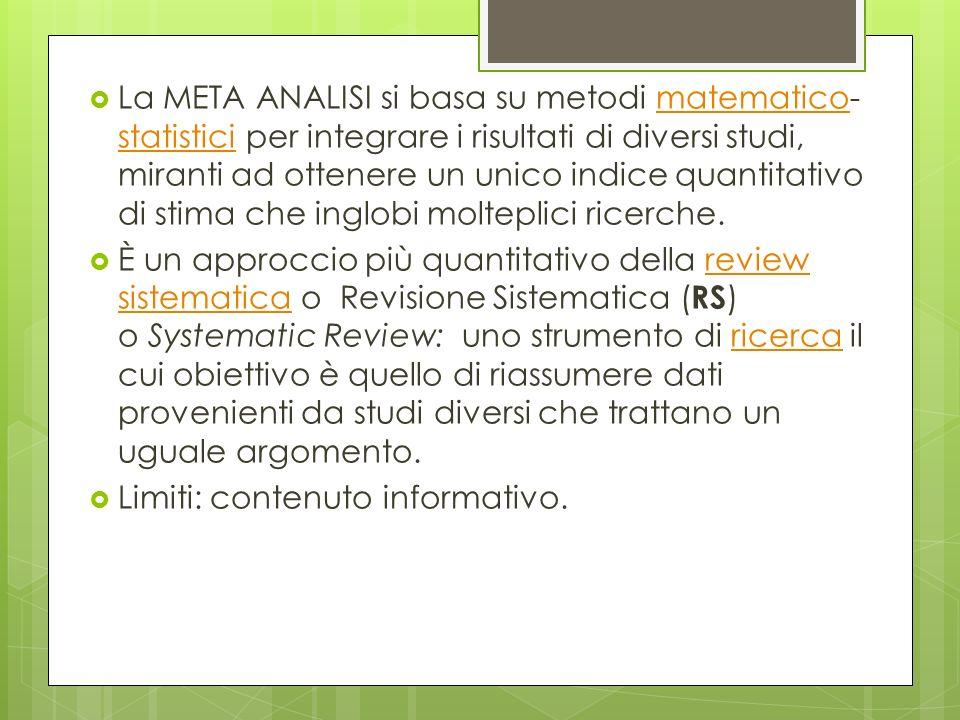 La META ANALISI si basa su metodi matematico- statistici per integrare i risultati di diversi studi, miranti ad ottenere un unico indice quantitativo