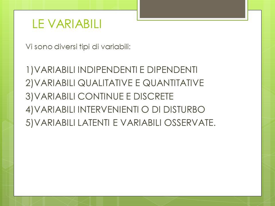 LE VARIABILI Vi sono diversi tipi di variabili: 1)VARIABILI INDIPENDENTI E DIPENDENTI 2)VARIABILI QUALITATIVE E QUANTITATIVE 3)VARIABILI CONTINUE E DI