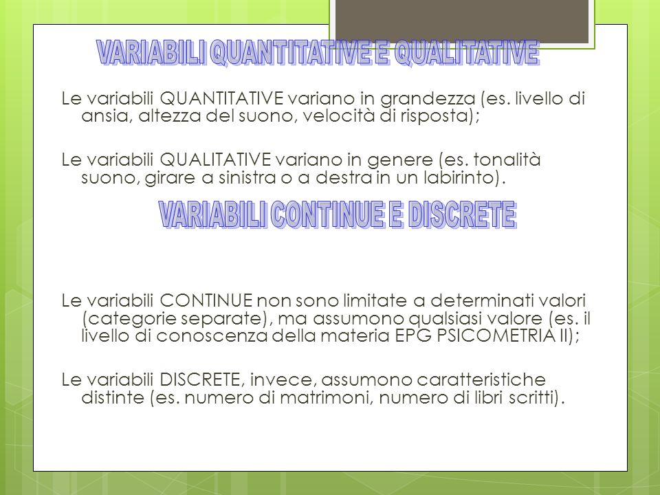 Le variabili QUANTITATIVE variano in grandezza (es. livello di ansia, altezza del suono, velocità di risposta); Le variabili QUALITATIVE variano in ge