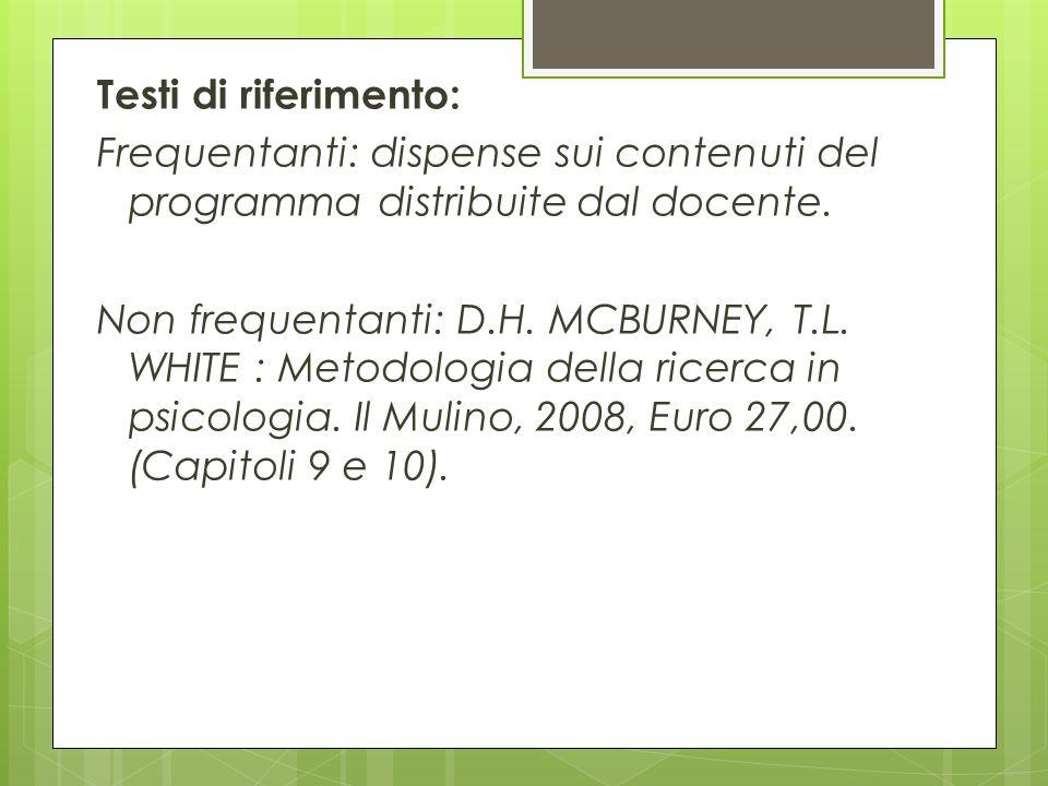 Testi di riferimento: Frequentanti: dispense sui contenuti del programma distribuite dal docente. Non frequentanti: D.H. MCBURNEY, T.L. WHITE : Metodo