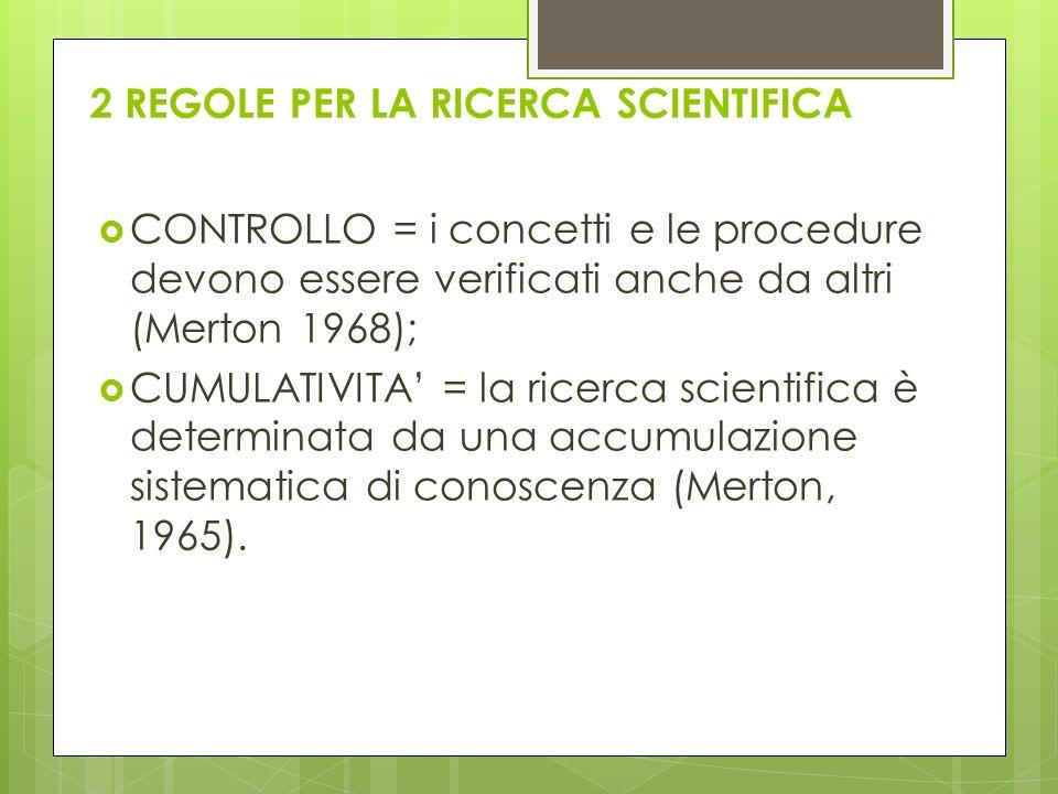 2 REGOLE PER LA RICERCA SCIENTIFICA CONTROLLO = i concetti e le procedure devono essere verificati anche da altri (Merton 1968); CUMULATIVITA = la ric