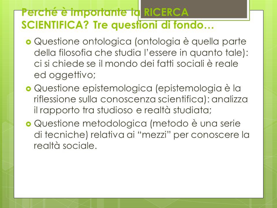 Perché è importante la RICERCA SCIENTIFICA? Tre questioni di fondo… Questione ontologica (ontologia è quella parte della filosofia che studia lessere