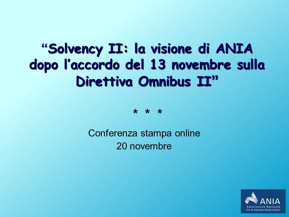 Solvency II: la visione di ANIASolvency II: la visione di ANIA dopo laccordo del 13 novembre sulla Direttiva Omnibus II dopo laccordo del 13 novembre sulla Direttiva Omnibus II * * * Conferenza stampa online 20 novembre