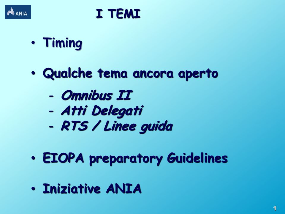 Timing Timing Qualche tema ancora aperto Qualche tema ancora aperto -Omnibus II -Atti Delegati -RTS / Linee guida EIOPA preparatory Guidelines EIOPA preparatory Guidelines Iniziative ANIA Iniziative ANIA I TEMI 1
