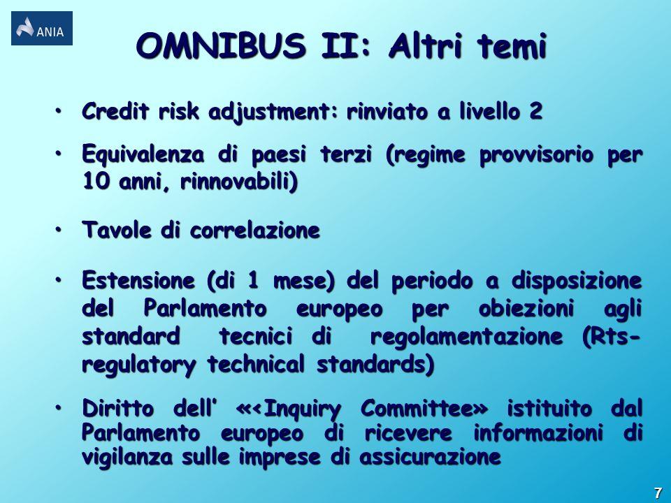 Credit risk adjustment: rinviato a livello 2Credit risk adjustment: rinviato a livello 2 Equivalenza di paesi terzi (regime provvisorio per 10 anni, r