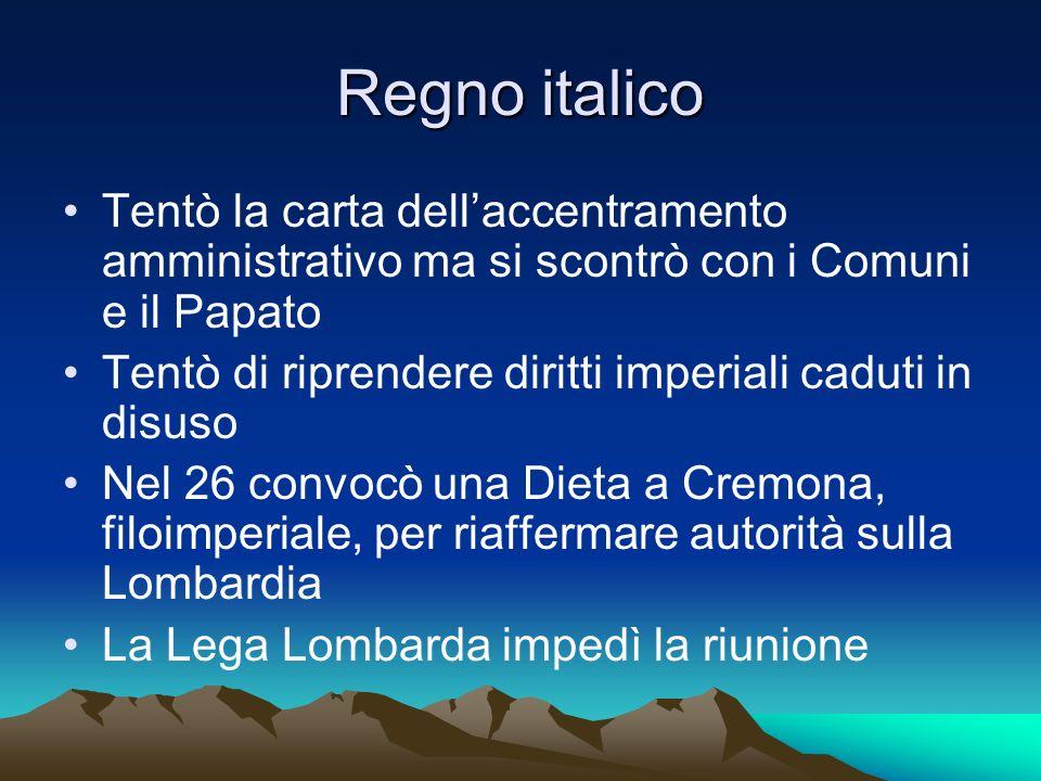 Regno italico Tentò la carta dellaccentramento amministrativo ma si scontrò con i Comuni e il Papato Tentò di riprendere diritti imperiali caduti in d
