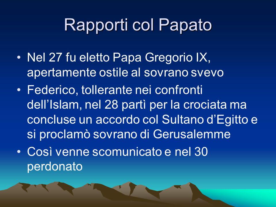 Rapporti col Papato Nel 27 fu eletto Papa Gregorio IX, apertamente ostile al sovrano svevo Federico, tollerante nei confronti dellIslam, nel 28 partì