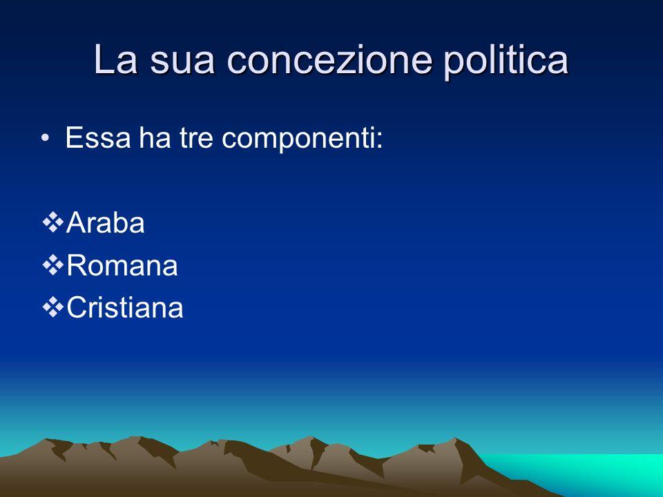 La sua concezione politica Essa ha tre componenti: Araba Romana Cristiana