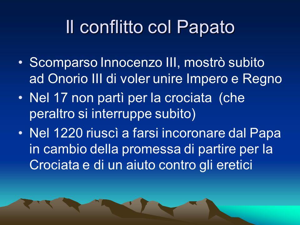 Il conflitto col Papato Scomparso Innocenzo III, mostrò subito ad Onorio III di voler unire Impero e Regno Nel 17 non partì per la crociata (che peral