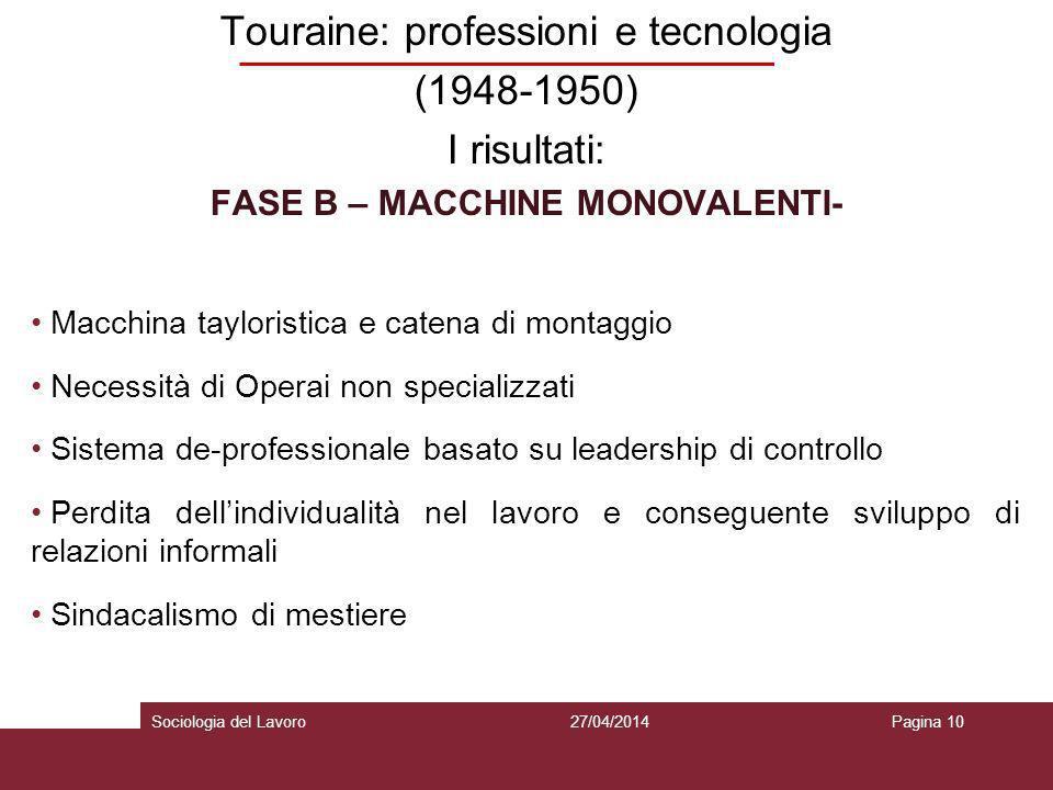 Touraine: professioni e tecnologia (1948-1950) I risultati: FASE B – MACCHINE MONOVALENTI- Macchina tayloristica e catena di montaggio Necessità di Op