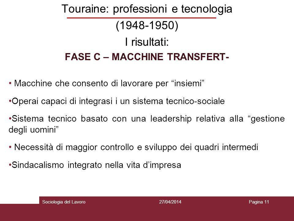 Touraine: professioni e tecnologia (1948-1950) I risultati: FASE C – MACCHINE TRANSFERT- Macchine che consento di lavorare per insiemi Operai capaci d