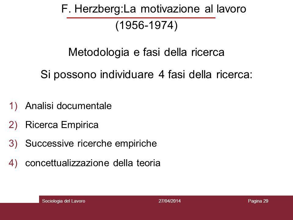 F. Herzberg:La motivazione al lavoro (1956-1974) Metodologia e fasi della ricerca Si possono individuare 4 fasi della ricerca: 1)Analisi documentale 2