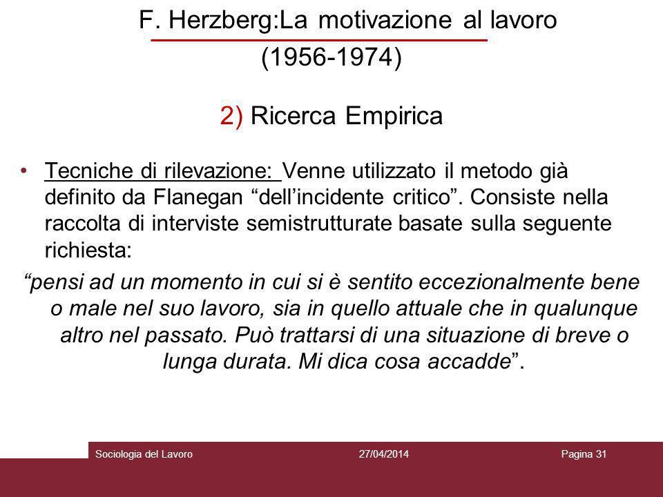 F. Herzberg:La motivazione al lavoro (1956-1974) 2) Ricerca Empirica Tecniche di rilevazione: Venne utilizzato il metodo già definito da Flanegan dell