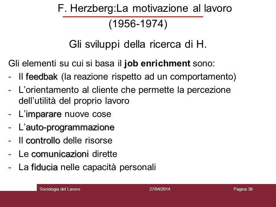 F. Herzberg:La motivazione al lavoro (1956-1974) Gli sviluppi della ricerca di H. Gli elementi su cui si basa il job enrichment sono: feedbak -Il feed
