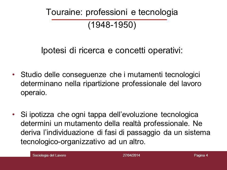 Touraine: professioni e tecnologia (1948-1950) Ipotesi di ricerca e concetti operativi : La tecnologia è considerata come variabile indipendente.