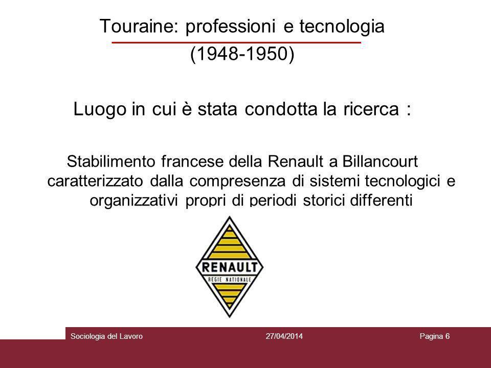 Touraine: professioni e tecnologia (1948-1950) La metodologia: Tecnica di rilevazione: metodo storico comparativo con interviste e osservazione sul campo.