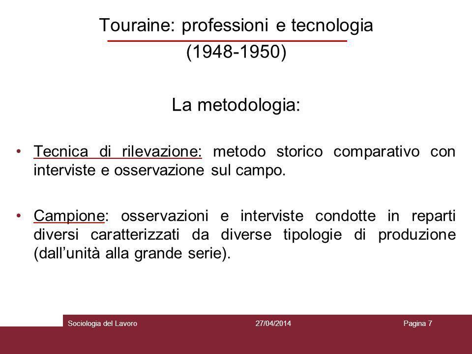 Touraine: professioni e tecnologia (1948-1950) La metodologia: Tecnica di rilevazione: metodo storico comparativo con interviste e osservazione sul ca