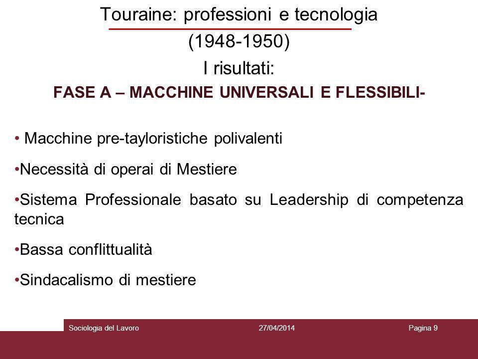 Touraine: professioni e tecnologia (1948-1950) I risultati: FASE A – MACCHINE UNIVERSALI E FLESSIBILI- Macchine pre-tayloristiche polivalenti Necessit