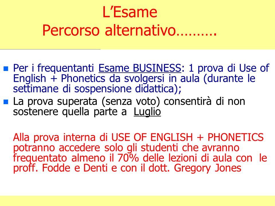 LEsame Percorso alternativo………. n n Per i frequentanti Esame BUSINESS: 1 prova di Use of English + Phonetics da svolgersi in aula (durante le settiman