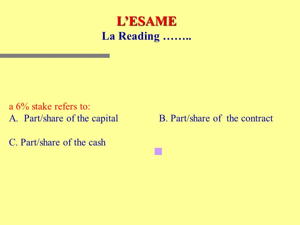LESAME La Reading ……..a 6% stake refers to: A.Part/share of the capitalB.