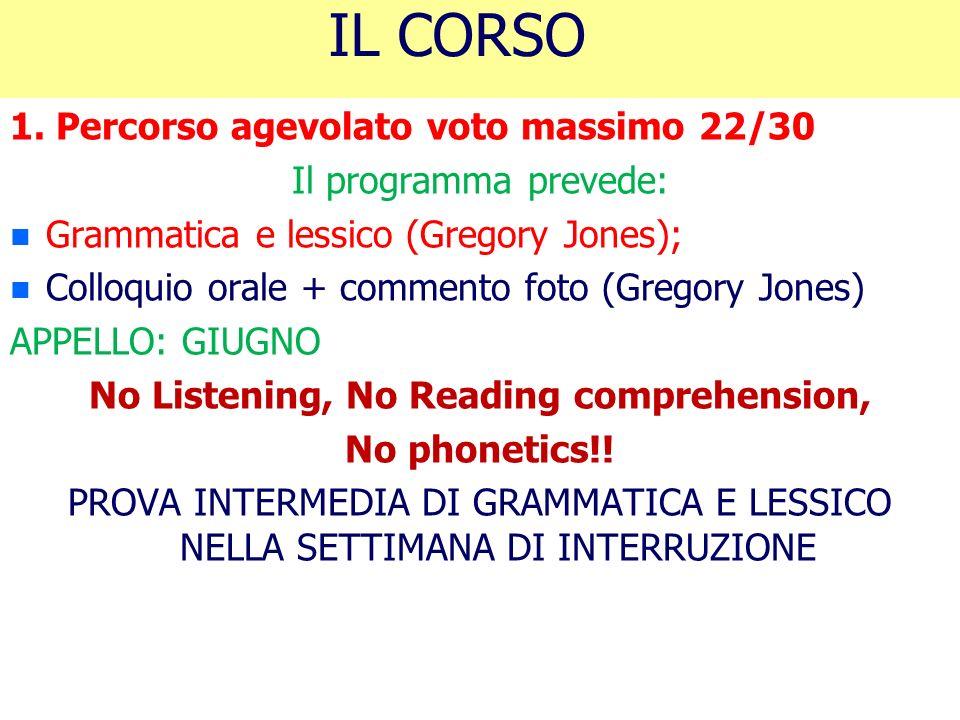 IL CORSO 1. Percorso agevolato voto massimo 22/30 Il programma prevede: n n Grammatica e lessico (Gregory Jones); n n Colloquio orale + commento foto