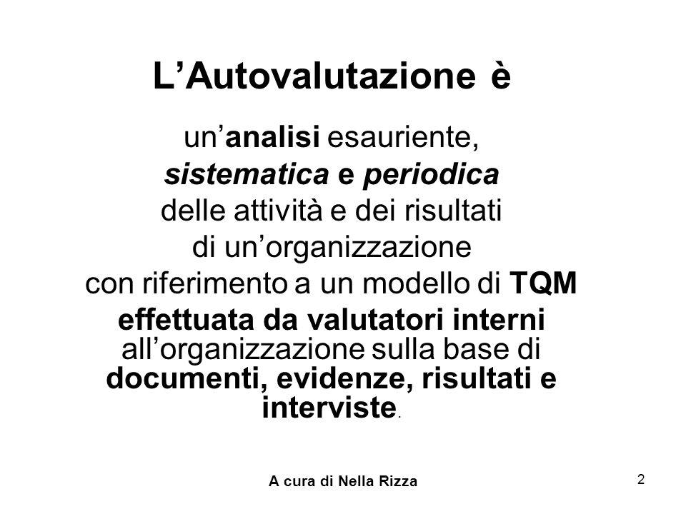 A cura di Nella Rizza 2 LAutovalutazione è unanalisi esauriente, sistematica e periodica delle attività e dei risultati di unorganizzazione con riferimento a un modello di TQM effettuata da valutatori interni allorganizzazione sulla base di documenti, evidenze, risultati e interviste.