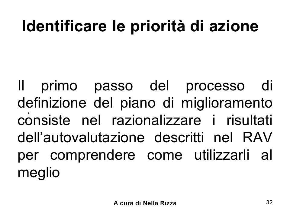 A cura di Nella Rizza 32 Identificare le priorità di azione Il primo passo del processo di definizione del piano di miglioramento consiste nel razionalizzare i risultati dellautovalutazione descritti nel RAV per comprendere come utilizzarli al meglio.